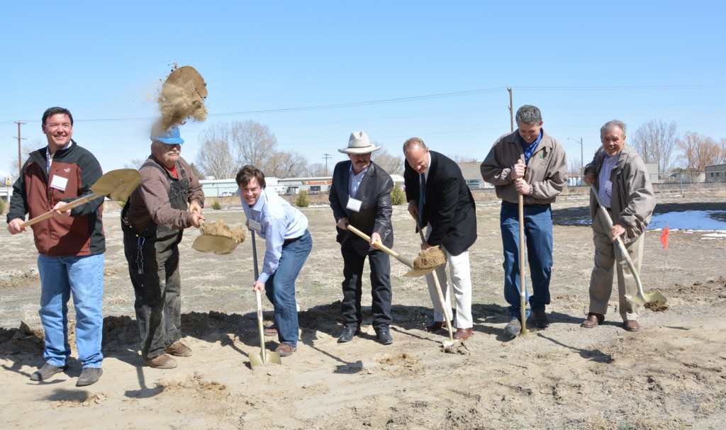 The Groundbreaking Celebration for the new Wyoming Sugar silos was held on April 25 at the Worland plant. Shovels were put to work by (left to right) John Snyder, grower; Mark Hinkel, Wyoming Sugar employee; Matt Hamlin, APT Construction; Bill Morrison, FSA loan manager; Governor Matt Mead; Wyoming Sugar Head of Operations Vince Salzman; Wyoming Sugar Chairman and CEO Richard McKamey.